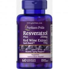 Спеціальний продукт Puritan's Pride Resveratrol plus Red Wine Extract червоного вина 250 мг 60 капсул