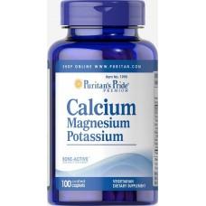 Мінерали Puritan's Pride Calcium Magnesium and Potassium 100 таб