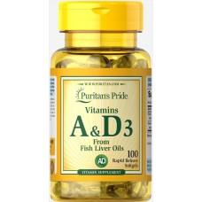 Вітаміни Puritan's Pride Vitamin A & D3 From Fish liver oils 100 таб