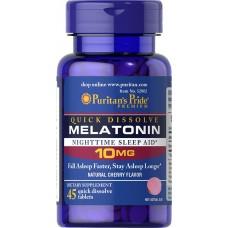 Вітаміни Puritan's Pride Quick Dissolve Melatonin 10 45 таб Вишня