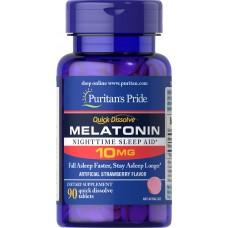 Вітаміни Puritan's Pride Quick Dissolve Melatonin 10 90 таб Полуниця