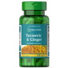 Куркума і імбир, Turmeric,Ginger, Puritan's Pride, 120 капсул