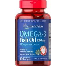 Омега-3 риб'ячий жир, Omega-3 Fish Oil (Active Omega-3), Puritan's Pride, 1000 мг, 100 капсул