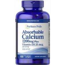 Вітамины Puritan's Pride Absorbable Calcium 1200 mg Plus Vitamin D3 25 mcg 100 капсу