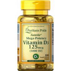 Вітаміни Puritan's Pride Vitamin D3 125 mcg 5000 IU 100 капсул