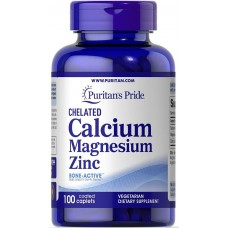Мінерали Puritan's Pride Chelated Calcium Magnesium Zinc 100 таблеток с покрытием