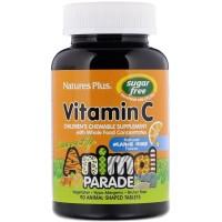 Вітамін C Дитячий,Animal Planet, не містить цукру, з ароматом апельсинового соку, Nature's Plus, 90 тварин