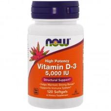 Вітаміни Now Foods  D3 5000 МЕ 120 softgels