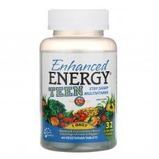 Посилена енергія, для підлітків, суміш для пам'яті і концентрації, Enhanced Energy Multivitamin for Teens Memory & Concentration, KAL, 60 вегетаріанських таблеток