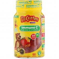 Імунна підтримка C плюс цинк і вітамін Д, L'il Critters, 60 жувальних цукерок