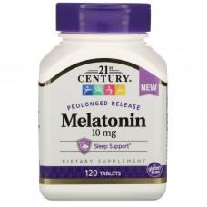 Мелатонін, пролонговане вивільнення, Melatonin, Prolonged Release, 21st Century, 10 мг, 120 таблеток