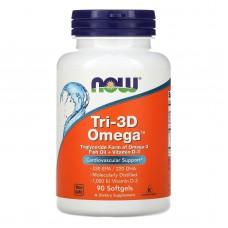 Риб'ячий жир Омега Tri-3D + вітамін D-3, Now Foods, 90 капсул