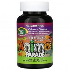 «Парад тварин», жувальні цукерки для дітей, асортимент природних смаків, Nature's Plus, 90 «тварин»