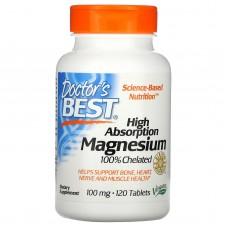 Магній з високою засвоюваністю, High Absorption Magnesium, Doctor's Best, 120 таблеток