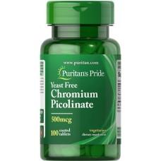 Пиколинат хрому без дріжджів, Chromium Picolinate Yeast Free, Puritan's Pride, 500 мг, 100 таблеток