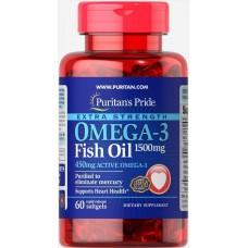 Омега-3 Риб'ячий жир, Extra Strength Omega-3 Fish Oil, Puritan's Pride, 1500 мг (450 мг Active Omega-3), 60 капсул