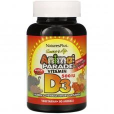 D3, Animal Parade, дитяча мультивітамінна добавка з натуральним ароматом чорної вишні, 500 МО, Nature's Plus, 90 жувальних капсул