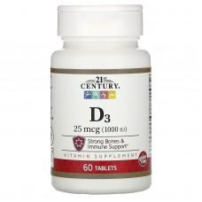 Вітамін D3, 21st Century, 25 мкг (1000 МО), 60 таблеток