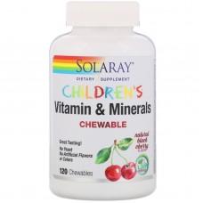 Дитячі жувальні вітаміни і мінерали, натуральний смак чорної вишні, Solaray, 120 жувальних вітамінів
