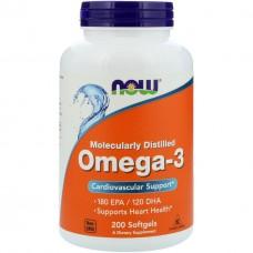 Омега 3 , поддержка сердца , Omega  3  Now Foods 180 EPA /120 DHA  200 капсул